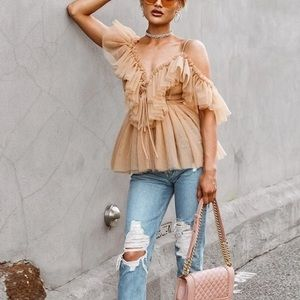 Tops - Nude Tulle lace up Blouse with Tiered Ruffles,